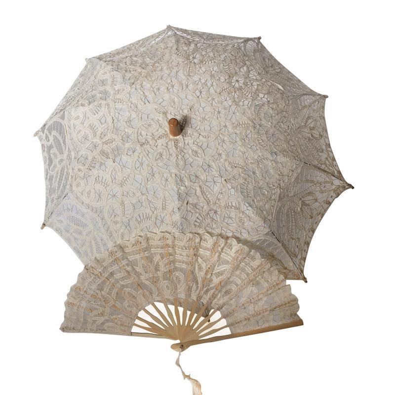 Otros accesorios A Hecho A Mano Ducha De Cumpleaños Regalo De Cumpleaños Vintage Battenburg Encaje Ventilador Paraguas Parasol Set Actor Boda Po Prop