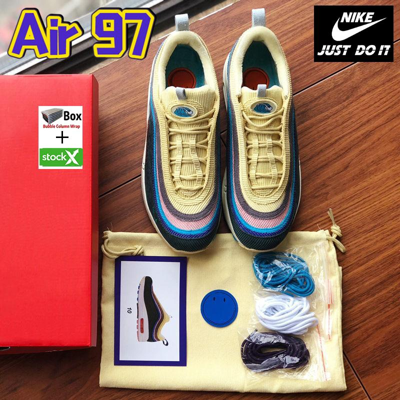 Melhores SW Sean Wotherspoon Sapatos 97s Enxofre Vivid Multi Blue Amarelo híbrido Running Shoes 2019 New Womens Botas Mens Tamanho 36-45