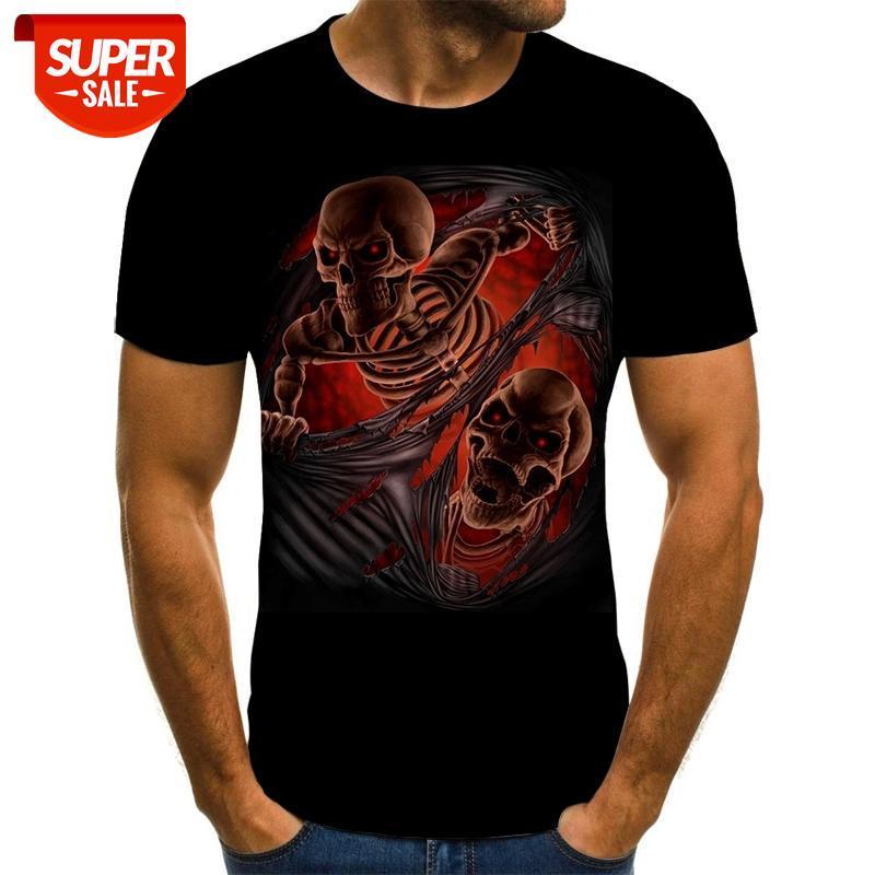 Mens Crânio Abóbora Lanterna Camisetas Moda Verão Manga Curta Ghost Rider Cool T-shirt Chapéu 3D Imprimir Tops Camisetas Homens # DF4Z