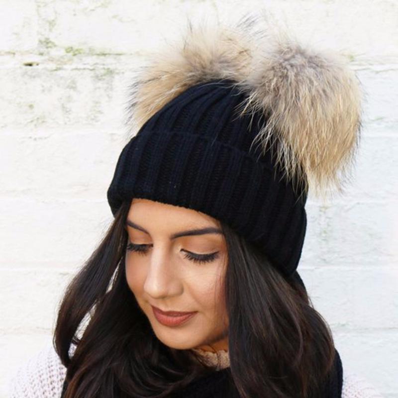 Beanie/Skull Caps 2021 Double Fur Ball Cap Pom Poms Winter Warm Hat For Women Girl Knitted Beanies Crochet Brand Thick Female
