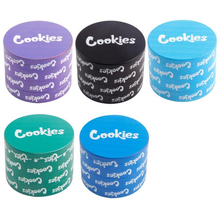 Cookies Moedor Impressão Completa Impressão 3D Herb Spice Triturador Acessórios de fumo 40mm 50mm 55mm 63mm 4parts com pólen apanhador e escolha ferramenta