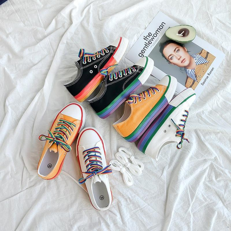 Rainbow shoe summer breathable trend student Korean version of Hyuna style canvas shoes women's flat single
