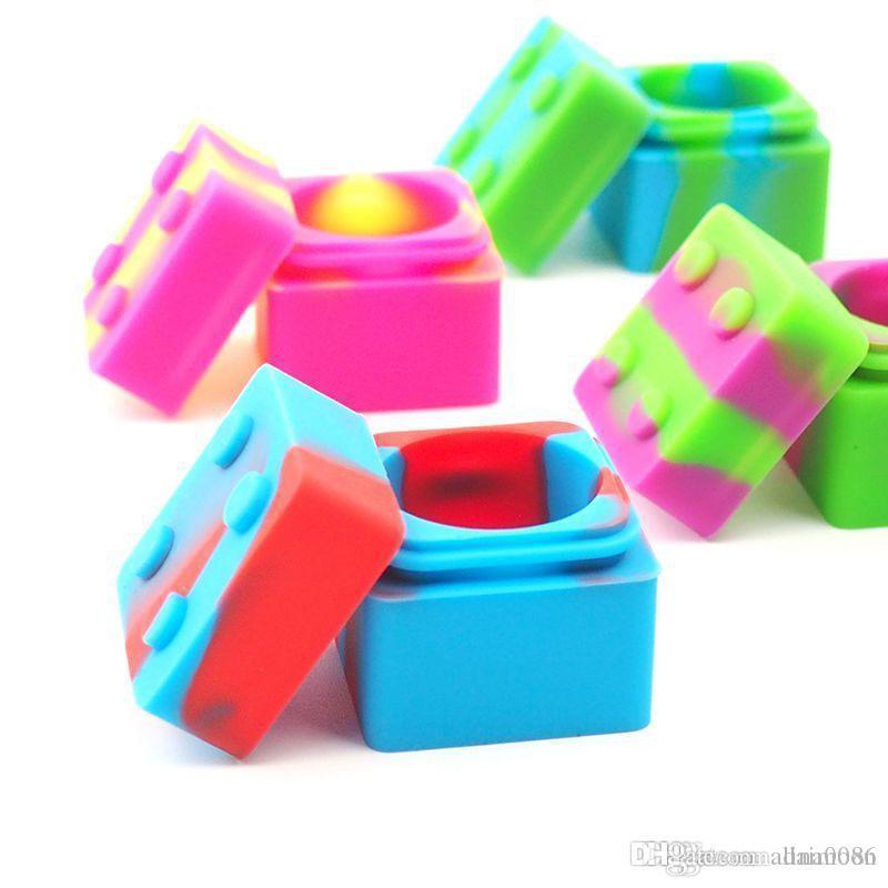 Conteneur de cire de forme LEGO 9 ml POARS en silicone Fumer DAB Vaporisateur Huile Caoutchouc à grande alimentation Boîte d'herbe sèche