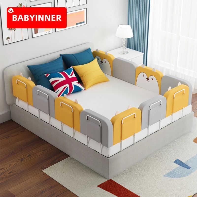 Babyinner 아기 침대 울타리 60cm 50cm 조정 가능한 높이 베이비 안전 침대 레일 Anti-Collision Baby Crib Bumper Guardrail 0-6 년 Q0828