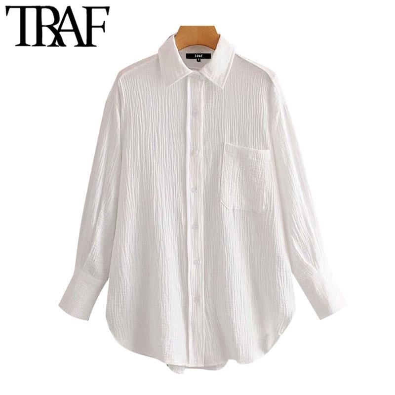 TRAF Женщины шикарные моды офис носить карманы свободные блузки старинные охлаждающие воротник с длинным рукавом женские рубашки шикарные вершины 210308