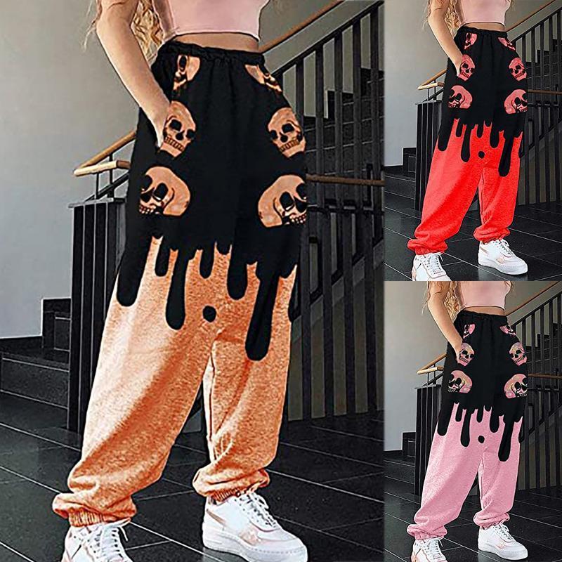 Women's Pants & Capris Halloween Sweat Black Dripping Baggy Sweatpant Jogger Tracksuit Hip Hop Casual Streetwear Womens Cargo Trousers