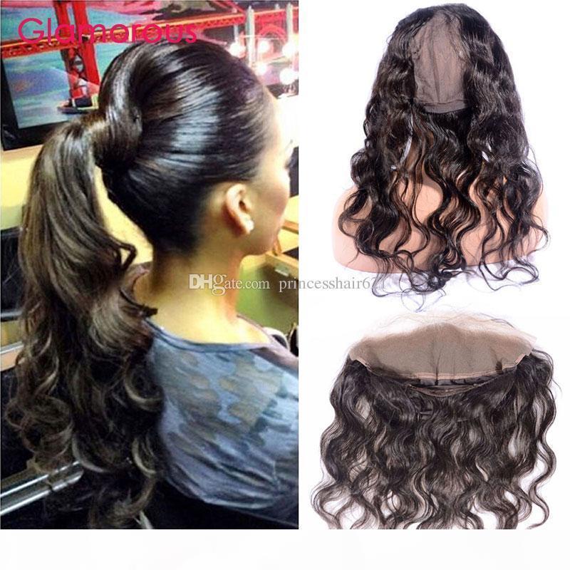 Glamouröse runde Spitzenverschluss Brasilianische Körperwelle 22 * 4 * 3 Zoll 360 Spitze Frontalverschluss mit Kappe 8-20inch Peruanisches indisches malaysisches Haar