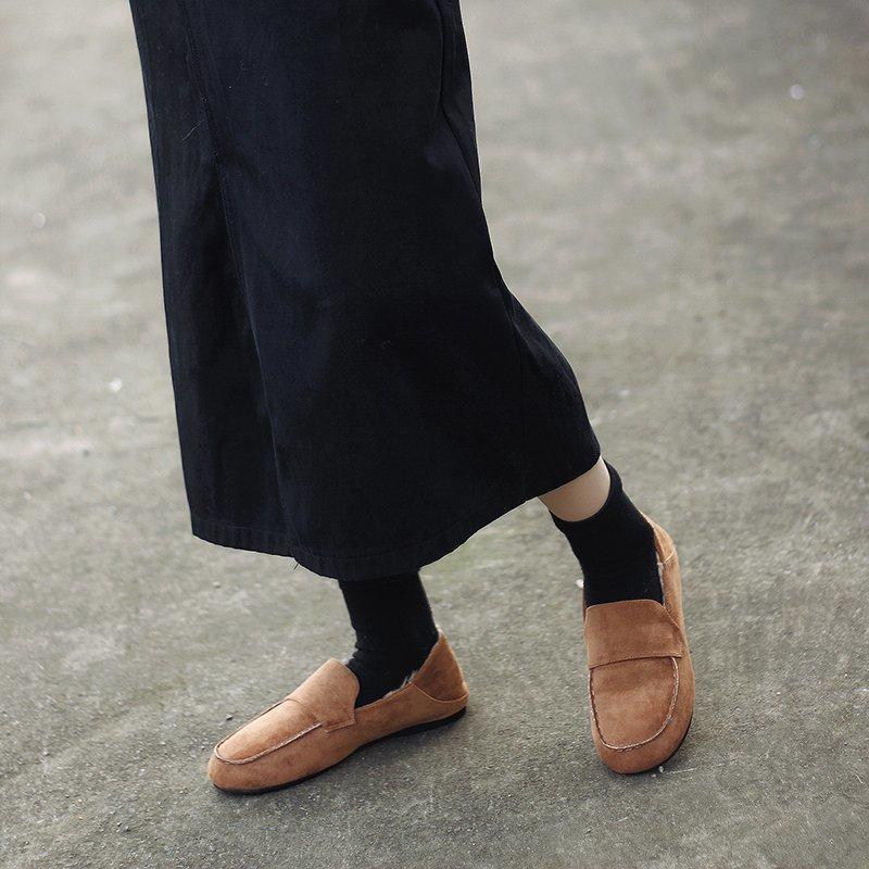 2020 Kış Kadın Flats Peluş Loafer'lar Sıcak Bayanlar Ayakkabı Faux Süet Siyah Düz Ayakkabı Üzerinde Kayma Kadın Rahat Ayakkabı Zapatos Mujer 8888N
