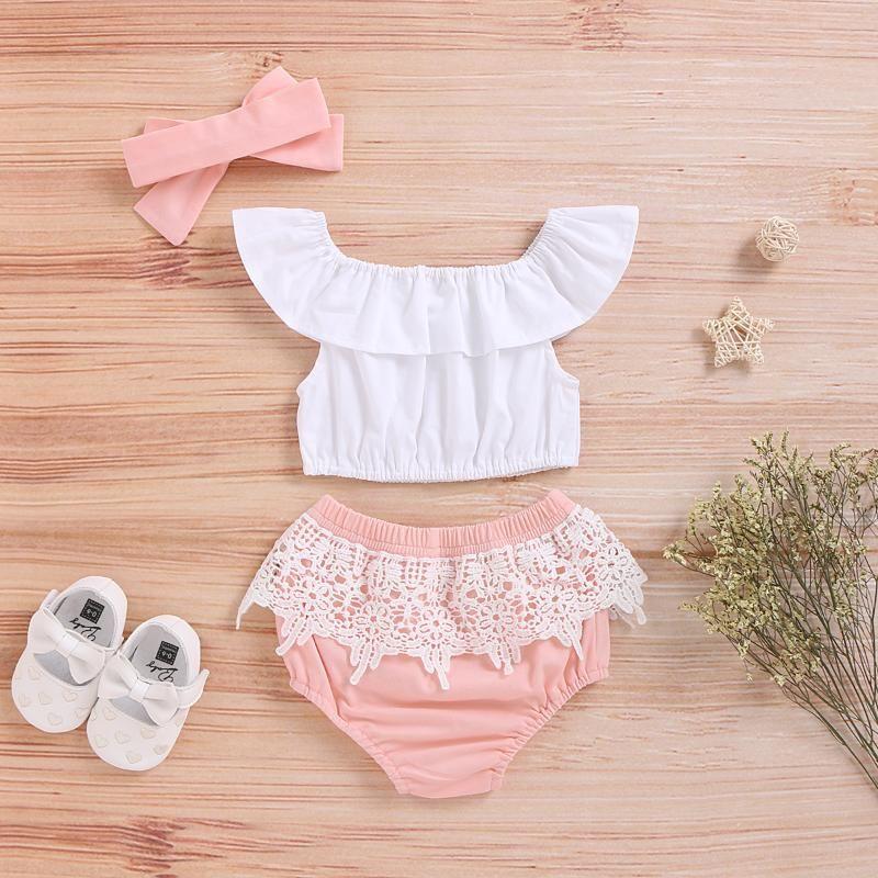 Günstige Sachen mit freiem Verschiffen Neugeborenes Baby Kleidung 0 3 Monate Set Weiß Sleeveless Top Und Rosa Shorts Kleinkind Mädchen Outfit