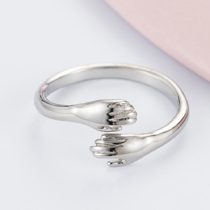 Love Hug Ring Retro Fashion Couple Tide Flow Open Band Rings Stainless Steel Adjustbale Vintage Finger Ring for Women Men Jewelry Gift