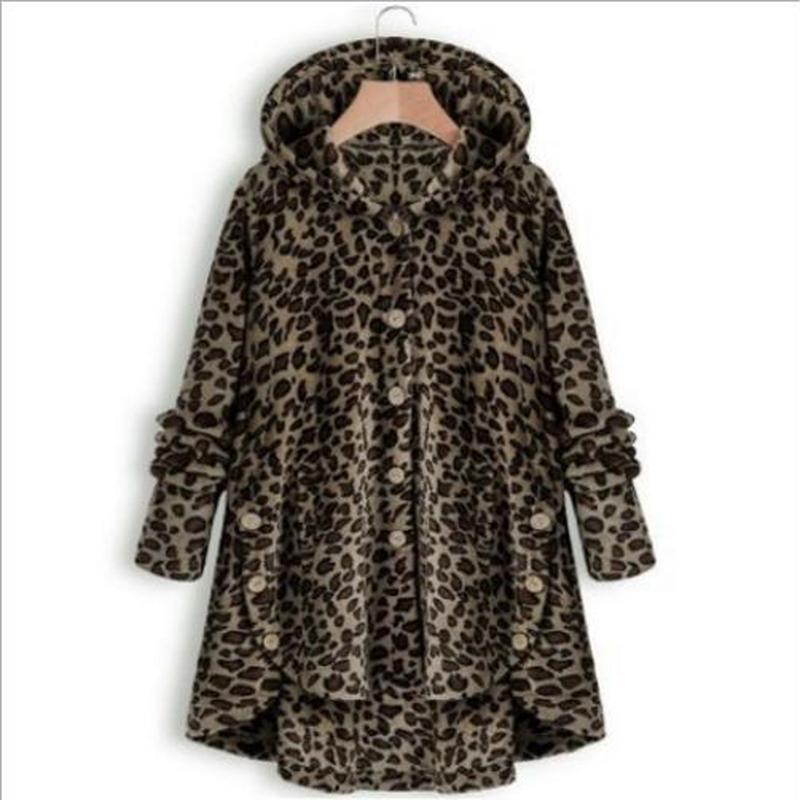 Women's Jackets 2021 Winter Coat Leopard Button Solid Color Hooded Jacket Dripshopping Long Sleeve Warm Outerwear