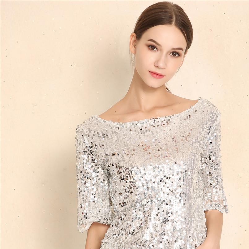 Caldo in Europa e America New Women Tops Top e Camicette Paillettes Ricamo Five Point Sleeve Shirt casual Shirt casual Plus Size