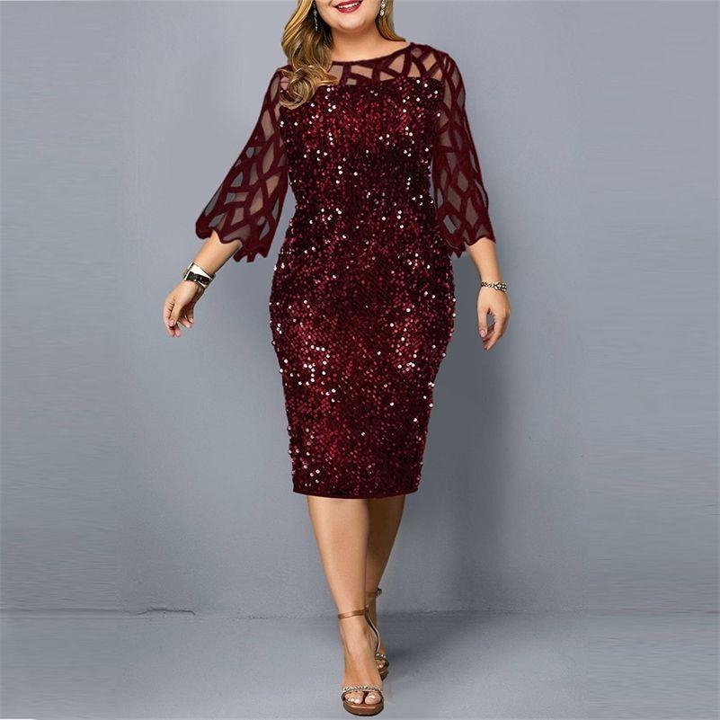 Parti Elbiseler Pullu Artı Boyutu kadın Elbise Yaz Doğum Günü Kıyafet Seksi Kırmızı Bodycon Elbise Düğün Akşam Gece Kulübü Elbise 210309
