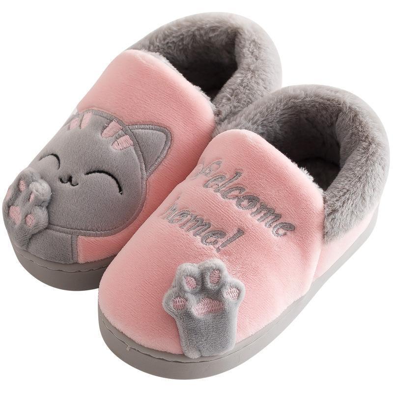 Slipper Kids Winter Women Home Slippers Niños Anti-Skid Peluche Animal Animal Slip on Soft Indoor Pats Comfort para Boy and Girl 2021