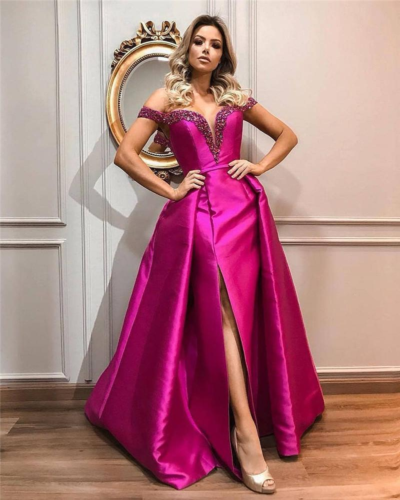 Elegant Fuchsia Mermaid Evening Dresses With Detachable Overskirt 2021 Off Shoulder Beaded Sweetheart Long Prom Party Gowns Special Occasion