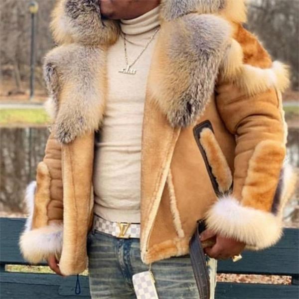 2020 Nuovo Cappotto di pelliccia Faux Uomo Plus Size Giacca invernale Giacca di pelliccia Colletto a maniche lunghe Liner Liner Liner Casual Zipper Giacche da uomo Cappotti 5XL