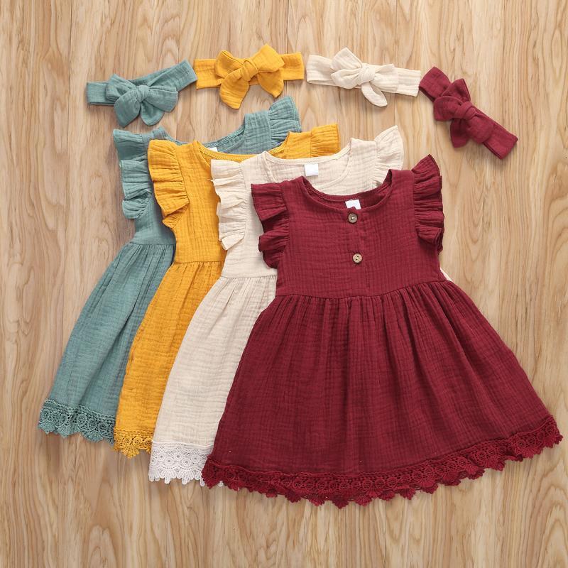 Vestidos de niña Moda Verano Bebé Infantil Niños Niños Sin mangas Algodón Sólido Encaje Casual Vestido Ruffles Sundress