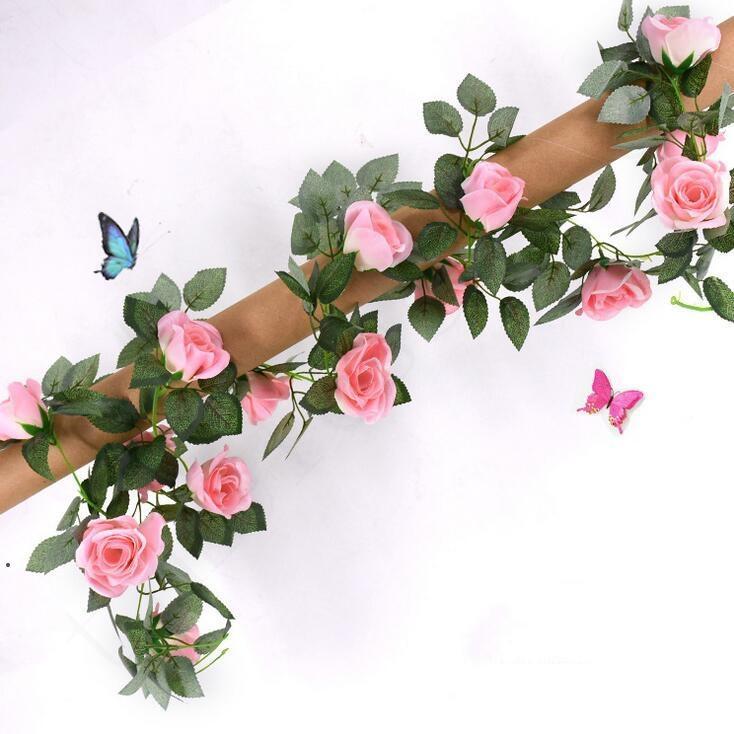2.2m Artificial Flower Vine Fake Silk Rose Ivy Flower for Wedding Decoration Artificial Vines Hanging Garland Home Decor DHD4810