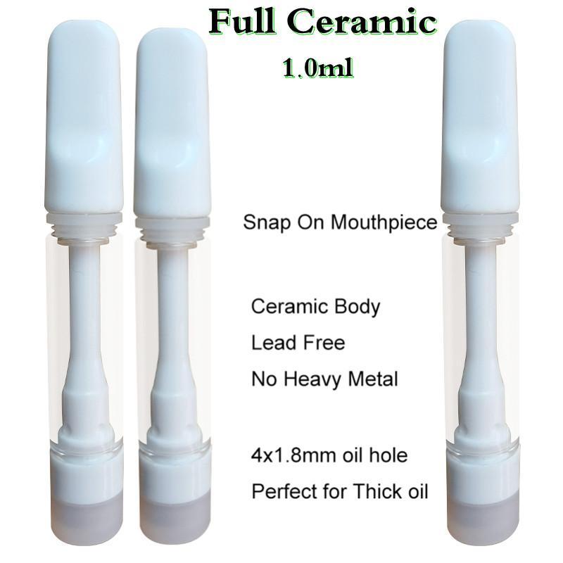 Tam Seramik Vape Kartuşları 1.0 ml Atomizer Boş Tek Kullanımlık Vapes Kalem Sepeti 4 * 1.8mm Emme Delik Yapış Kilidi Kurşun Ücretsiz Iyi Kalın Yağ Için D8 D9 Elektronik Sigaralar