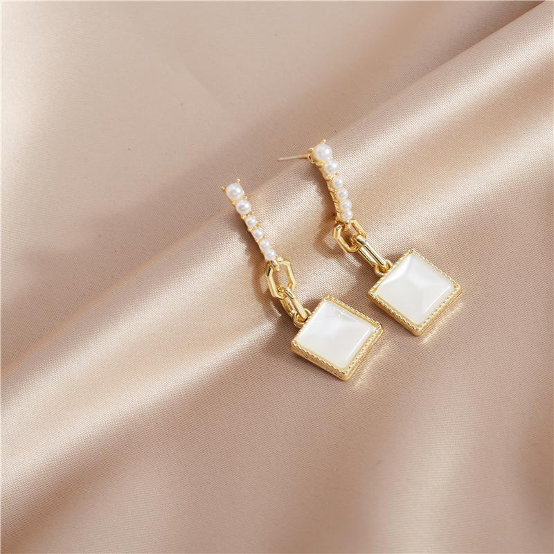 Stud Korean Style Square Opal Stone Earrings For Women Exquisite Imitation Pearl Dangle Femme Brincos Jewelry Gifts