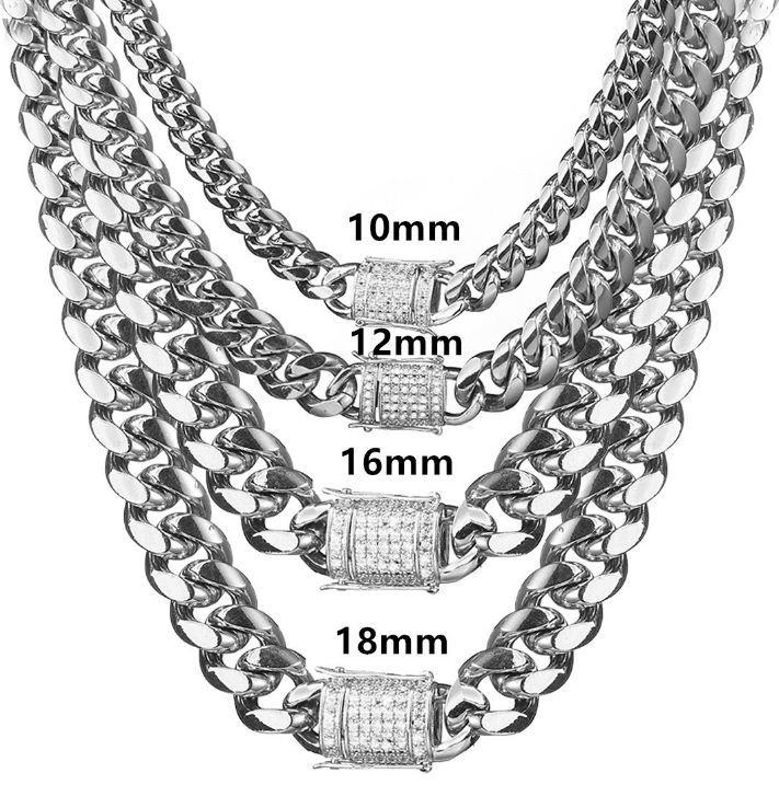 AIYANISHI 10/12/14/16/18MM Miami Cuban & Link Chain Necklace Stainless Steel Gold Color Necklace Men Hip Hop Rock Jewelry