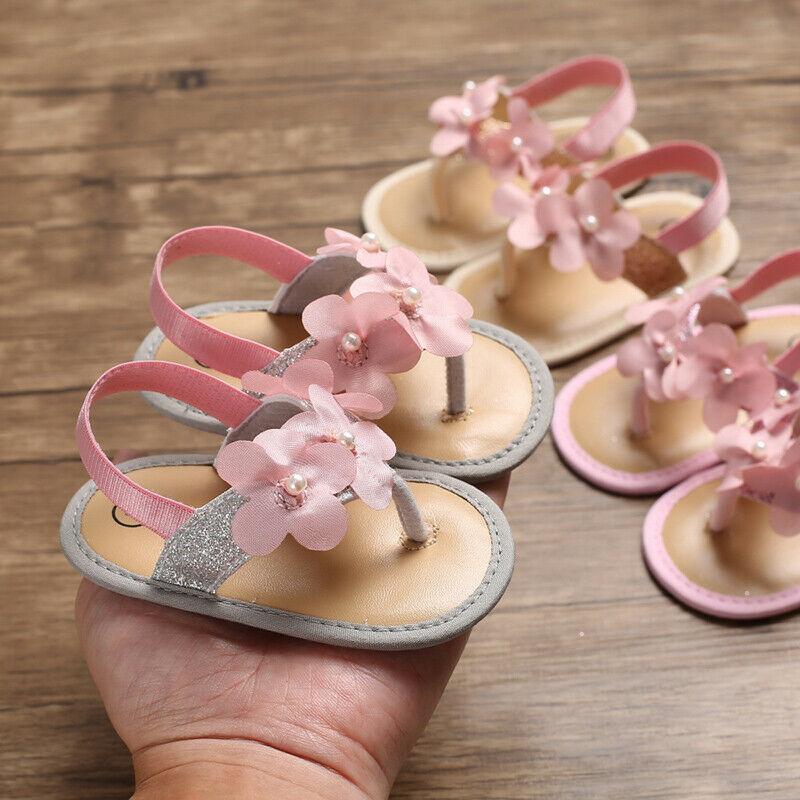 Nuevo en moda recién nacido bebé niña flor zapatos de flores Sandles verano vacaciones cuna zapatos PREWALKER