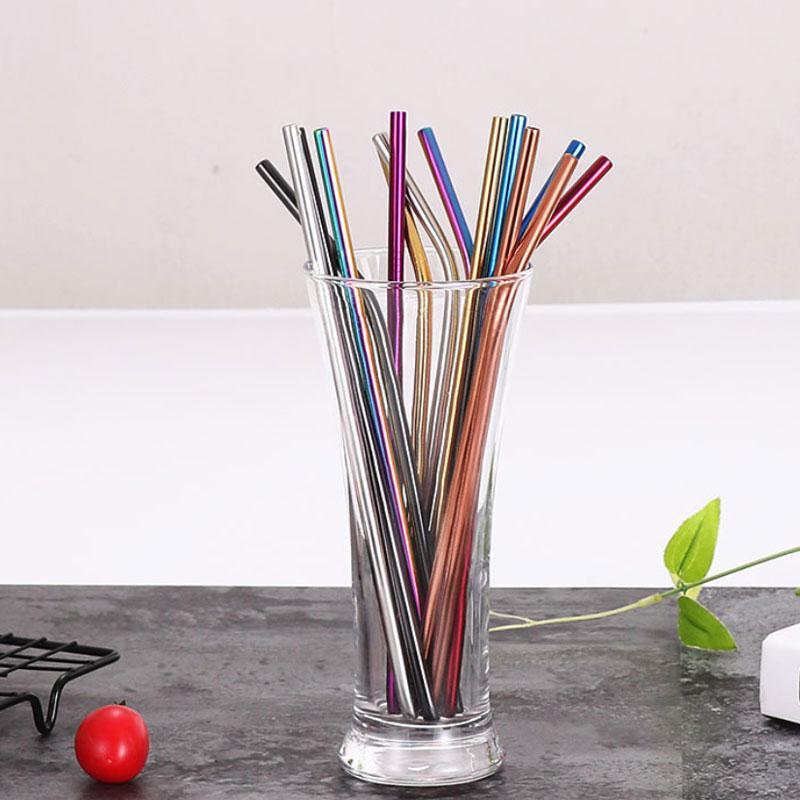 7 colores mezclado portátil reutilizable acero inoxidable estilo de estilo bent recto barra kithcen beber barware herramienta