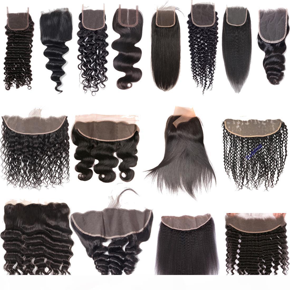 9A Brezilyalı Virgin İnsan Saç Uzantıları Düz Vücut Dalga Derin Su Dalga Kinky Kıvırcık Dantel Frontal Kapatma Kulak Krone Kapakları