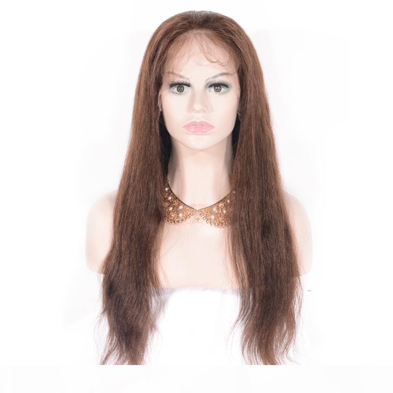 Zhifan Yüksek Kalite El Kanca Tam Dantel Peruk İnsan Saç Doğa Düz Kahverengi Uzun Saç Kadınlar Için
