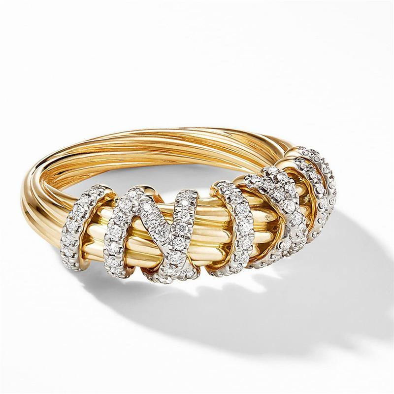 Vagzeb 2021 New Fashion Geomettric Gold Color Anillos Crystal CZ Piedl Charm Anillos Para Mujeres Niñas Joyas De Joyería Accesorios