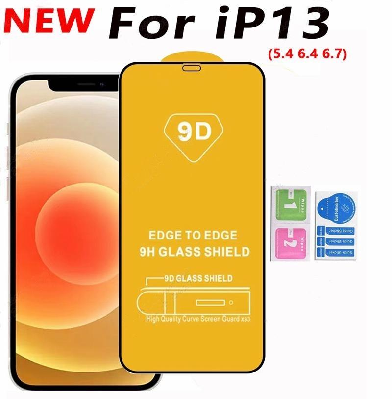 9D Full Cover Glue Tempered Glass Phone Screen Protector For iPhone 13 12 MINI PRO 11 XR XS MAX 8 7 6 Samsung Galaxy S21 A32 A42 A52 A72 4G 5G A51 A71 A02S moto G Stylus 2021
