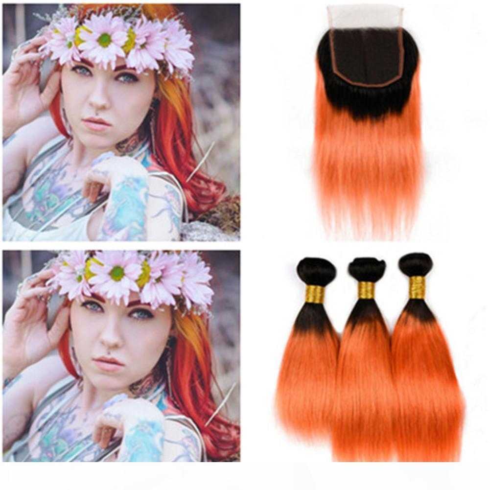 # 1b Orange Ombre перуанские девственные прямые человеческие волосы плетение пучки с закрытием 4шт. Лот Темный корневой ombre Оранжевые человеческие волосы 3 пакета сделки