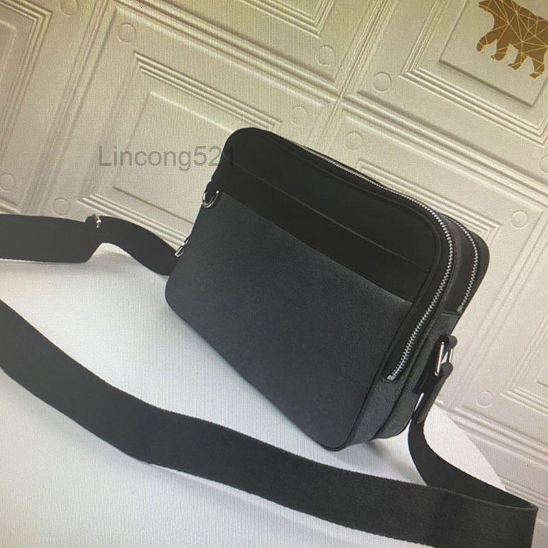 Высокое качество Trocadero NM Small Messenger Сумка для мужчин Сумки через Crossbody Черный Кожаный Человек Сумки на плечо Черти Графитовый холст сумки 40087