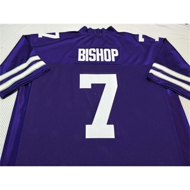 Rare Kansas State Wildcats Michael Bishop # 7 Real Full Bordery Jersey Tamaño S-4XL o Personalizado Cualquier nombre o Number Jersey