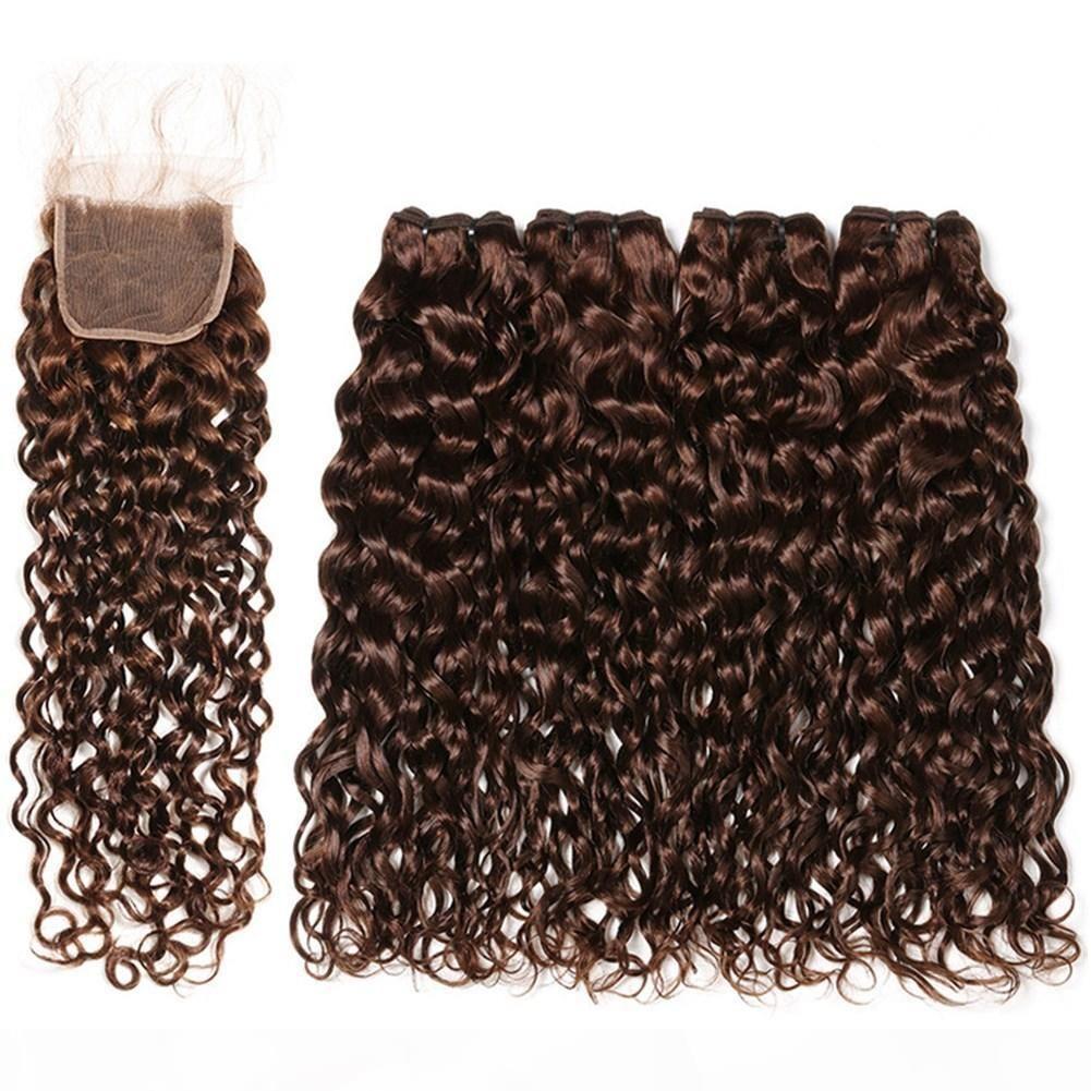 # 4 Темно-коричневые Малайзийские мокрые и волнистые человеческие волосы 4 фундаментальные с закрытием шоколада коричневые человеческие волосы плетены уцингируют с 4x4 кружева переднее закрытие