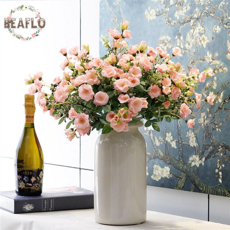 Dekorative Blumen Kränze 1 stück Vivid 7 Köpfe Künstliche Blume Gefälschte Rose Rosaceae Handgemacht Für Hochzeit Home Party Jahr 4 Farben