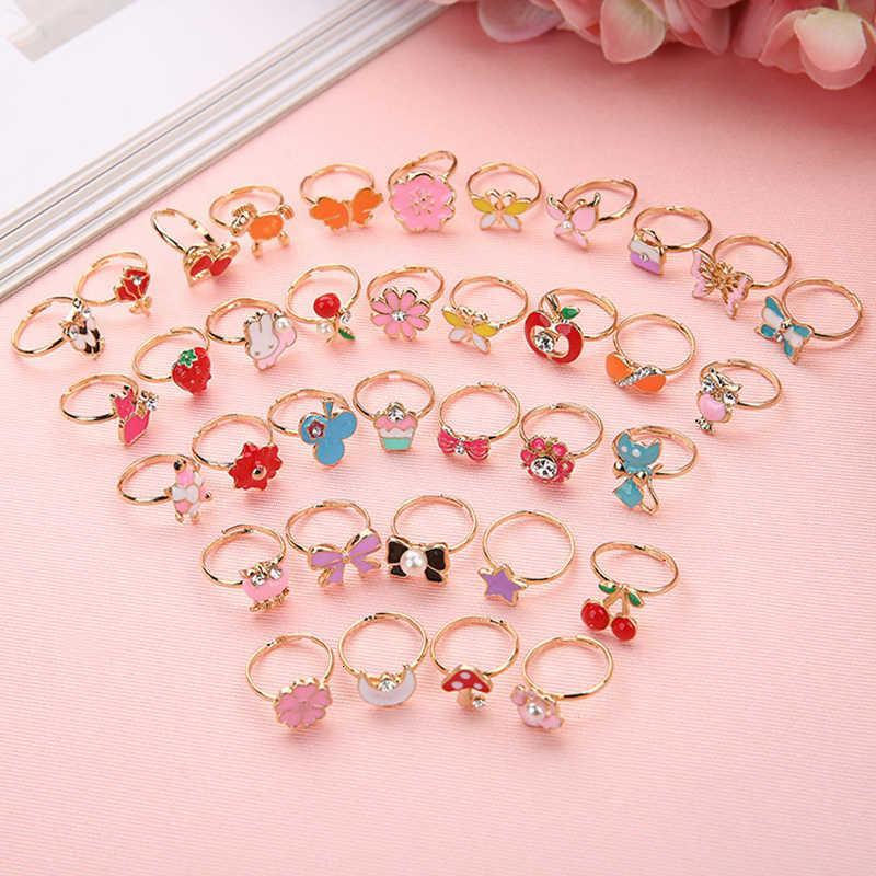 10 unids lindos dibujos animados niños kawaii coreano niños niñas flor aleación dedo anillo de dedo niño joyería regalo anillos ajustables