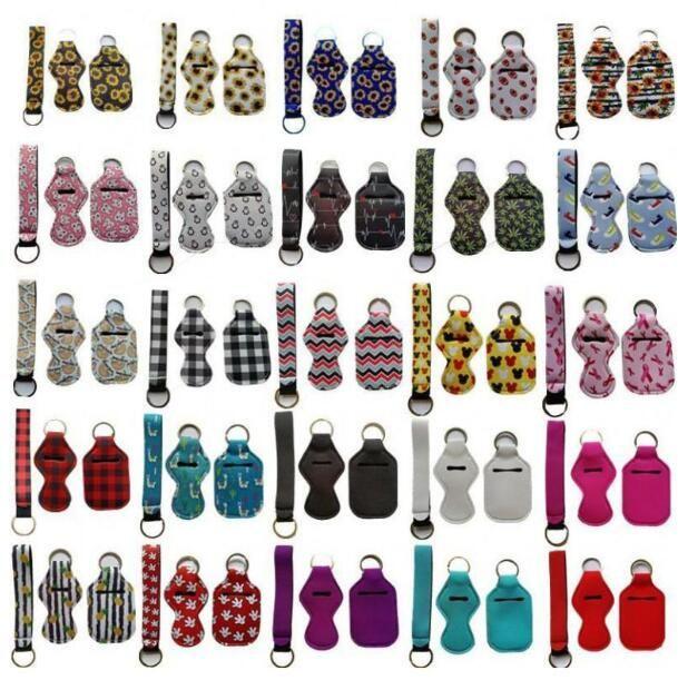 3 Pieces Travel Keychain Holders Kits Including 30ml Hand Sanitizer Holder Keychain Wristlet Keychains Lanyard Chapstick Holder 100 sets
