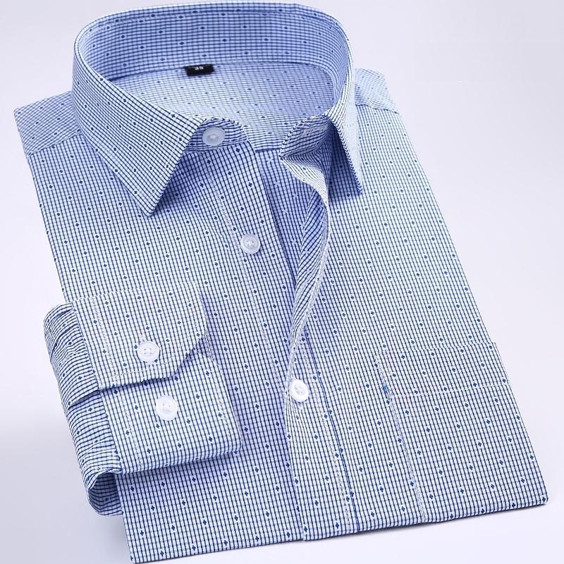 Novo não-ferro regular fit homens de manga longa homens camisas de fácil cuidado listrado / xadrez ponto floral tops para macho 210310