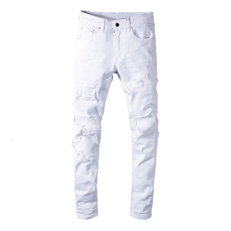 2021 Top Calidad Masculino Masculino Casual Casual Estiramiento Blanco Rompe Biker Jeans Slim NY Plised Patchwork Denim Pantalones Pantalones G9zk