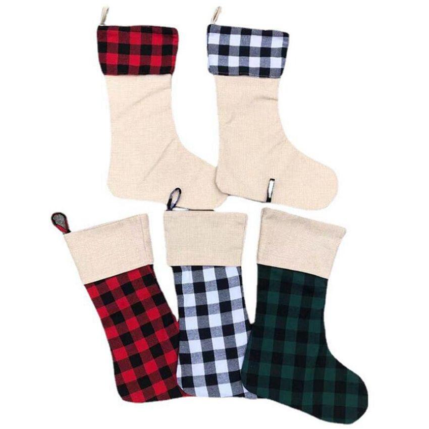 Sublimação Búfalo xadrez Christmas Moda 12 estilos em branco xmas doces meias Saco de presentes Santa Meias de Natal Oranment Cyz3279