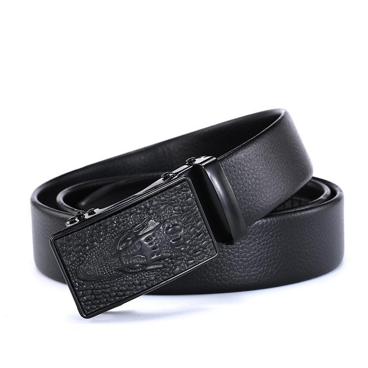 Cinturones de moda Cinturón de moda Cinturón 100% Top Cinturón de cuero de vaca Cinturón automático Hebilla de 3.5 cm Ancho Café negro Cinturones de sexo masculino 007
