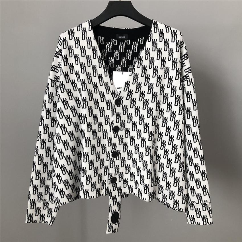 20fw We11done Female Male Cardigan 1:1:1 Superior Black Quality Old Slouchy Flower Loose Jacket Jacquard Sweater Jumpers D0qn