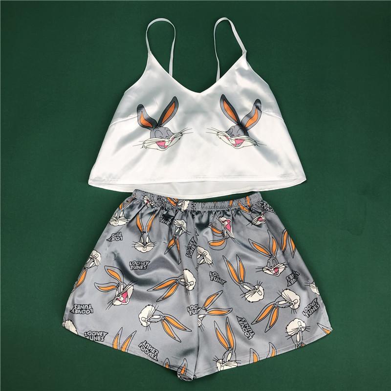 Hayvan Karikatür Baskı Güzel Pijama Ev Takım Elbise Yaz V Boyun Seksi Pijama Kadın Spagetti Kayışı Gevşek Pijama Saten Femme SY030102 Dysoon