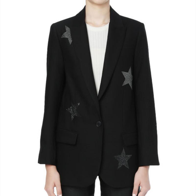 Женские костюмы Blazers Женщины Одноместный Кнопка Blazer Star Rhinestone Костюм с длинным рукавом Пальто и Верхняя одежда