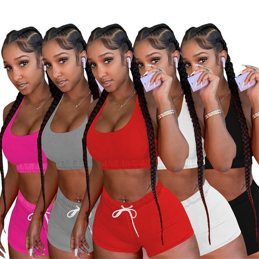 Frauen Casual Trainingsanzug Shorts 2 Stück Sets Mode Sommerkleidung Sleeveless Tank Top + Mini Shorts Sport Outfits Plus Size Jogger Anzug 4575
