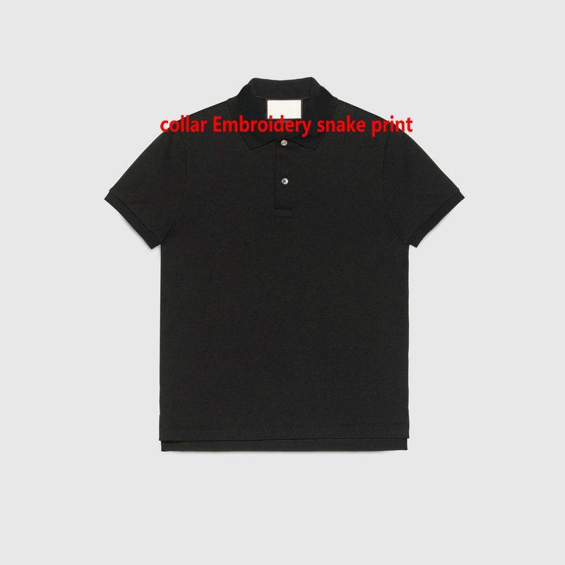 2021 Diseños de verano Camisas de lujo para polos para hombre Polos Classic Storg Bordery Aninmal Imprimir Cuello Camiseta Cuello de turno casual Tee Shirts