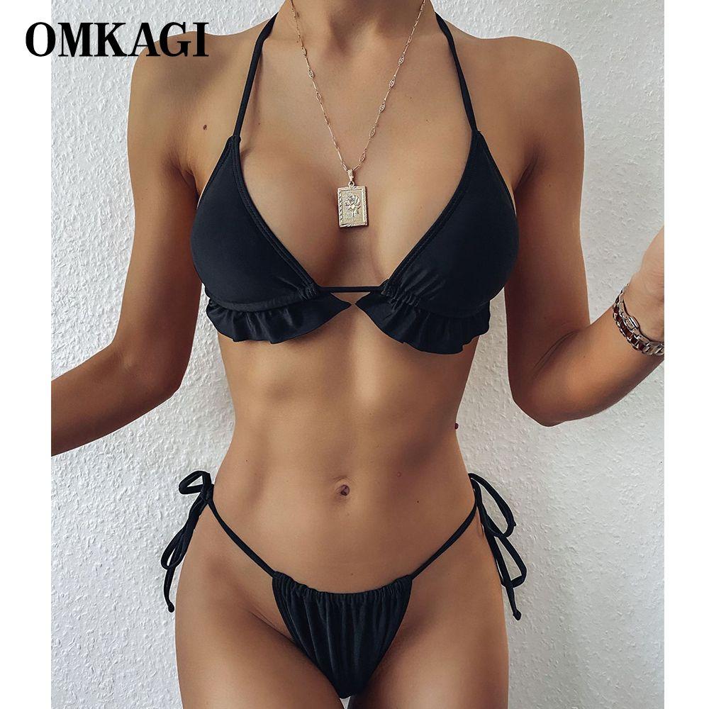 Omkagi Sexy Bikini Solido Costume da bagno alto Taglio Nuoto Costume da bagno Beachwear Beachwear Brasiliano Micro Bikini Set Push up Swimwear Donne Y0220