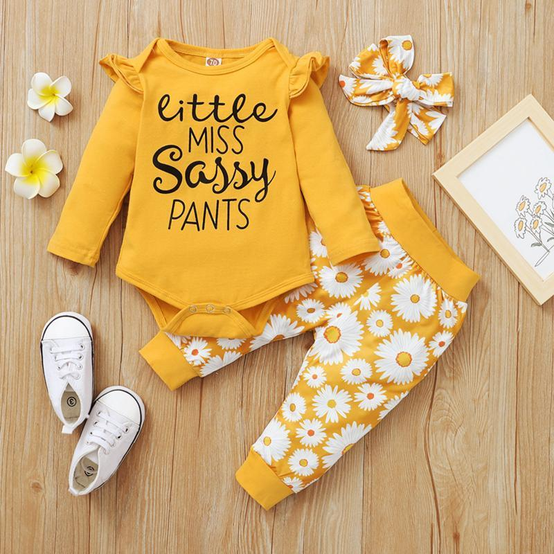 Clothing Sets 40# Children Clothes Baby Girls Long Sleeve Letter Printing Romper Tops Sunflower Floral Pants Outfits Set Kids