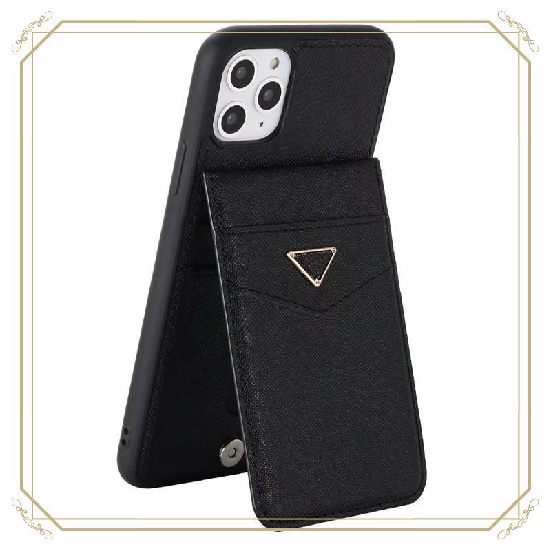 Coque de téléphone de carte de luxe en cuir pour iPhone 11 12 PRO X XS MAX XR avec logo en métal